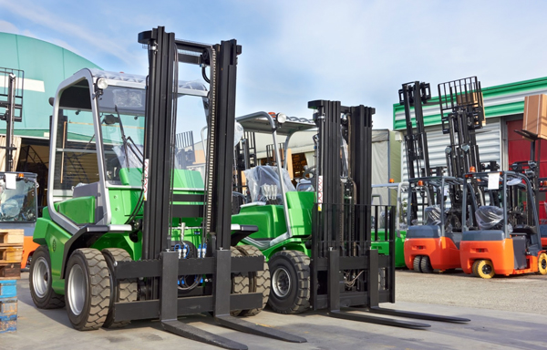 Forklift machine prices displayed at forklift dealer